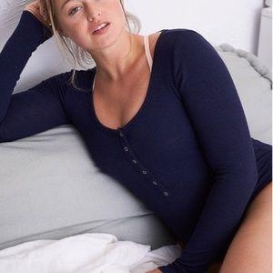 AERIE: Navy Long Sleeve Bodysuit